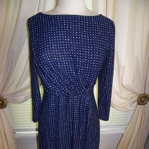 Le Lis Marsha Polka Dot Dress Lg Blue & Pink